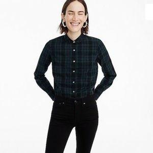 Jcrew club collar plaid long sleeve shirt